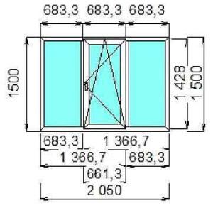 Сколько стоит трехстворчатое окно