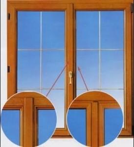 двустворчатых окнах стык между двумя створками прикрывается