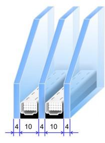 двухкамерный стеклопакет 32мм (4-10-4-10-4)